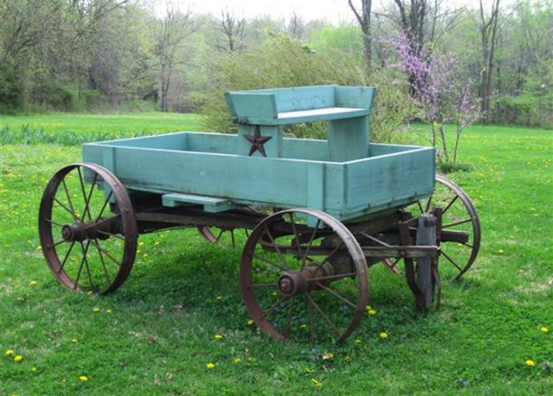 Walnut Acres trolly cart in the yard