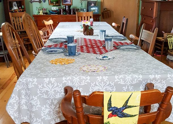 Walnut Acres Table set for four to eat